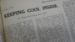 newspaper text - keeping cool
