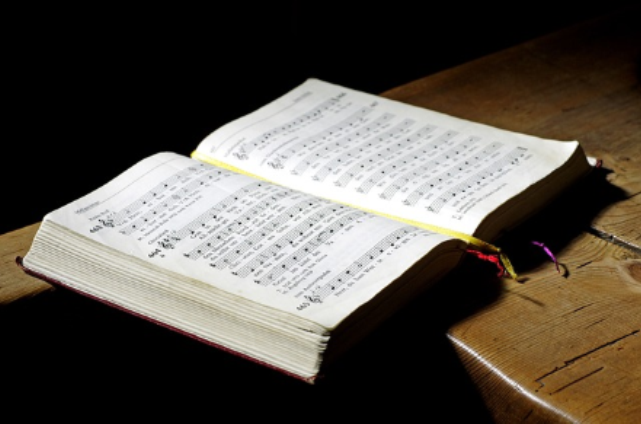 Open hymn book image